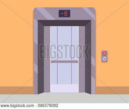 A New Lift In The Hallway Awaits Passengers. Flat Vector Illustration.