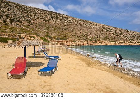 Ios, Greece - September 20, 2020 - Agia Theodoti Beach With Golden Sand And Azure Waters On Ios Isla