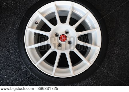 Bucharest, Romania - April 20, 2010: Details With The Abarth Logo On A Car Wheel Inside A Workshop.