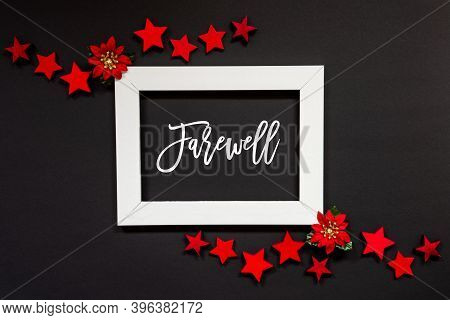 Frame, Red Winter Rose, Star, Text Farewell