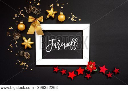 Frame, Red And Golden Christmas Decoration, Text Farewell