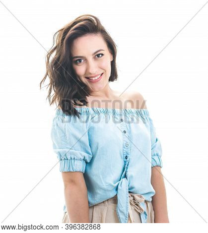 Young Woman With Friendly Smile Expression, Isolated On White Background. Beautiful Happy Girl In Go