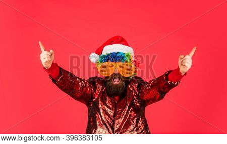 Funny Man With Beard. Winter Holidays. Sorry Santa, Naughty Just Feels Nice. Bearded Man Celebrate C