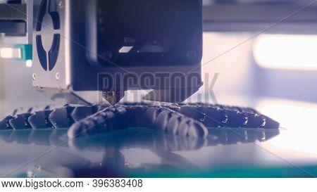 Automatic Three Dimensional Printer Machine Printing Plastic Model At Modern Technology Exhibition -