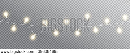 Christmas Lights. Celebration Background. Glowing Garland White Lights Isolated On Transparent Long