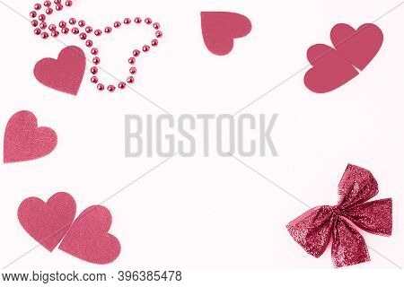 Frame Of Hearts Of A Shiny Bow And A Heart Of Beads, Fashionable Color, Raspberry Sorbet