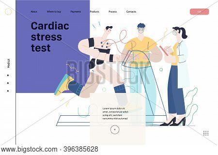 Medical Tests Template - Cardiac Stress Test -modern Flat Vector Concept Digital Illustration Of Str