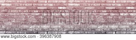 Grunge Grey Brick Wall Background Pink Toned. Aged Wall Texture. Distressed Brickwork. Grungy Black