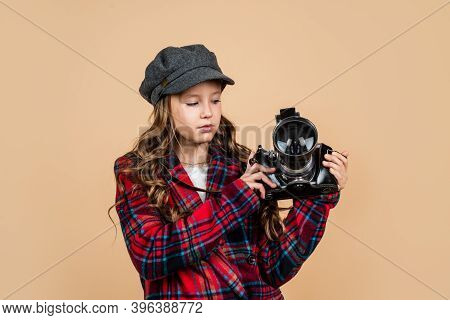 Happy Kid In Cap With Stylish Hairstyle Wear Checkered Jacket Use Vintage Photo Camera For Photograp