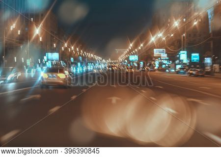 Abstract Blurred Urban Street Night Traffic, Bokeh Of City Street Lights, For Background