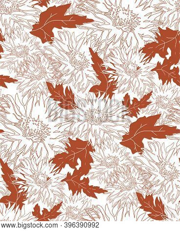 Outline Mono Color Vector Seamless Pattern With Flowers Chrysanthemum In Full Bloom On White Backgro
