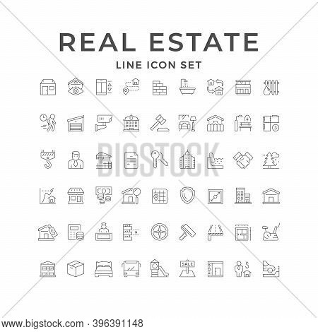 Set Line Icons Of Real Estate Isolated On White. Room, Legal Defense, Construction Industry, Locatio