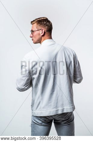 The Key To Menswear Looking Good Is Fit. Young Man Wear Casual Style, Back View. Menswear Collection