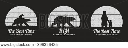 Set Of Black And White Retro Illustrations With Silhouettes Of Polar Bears. Animal Mother And Child.