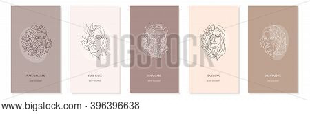 Vector Set Of Nude Girl Backgrounds With Flowers For Stories. Portraits In Minimalistic Trendy Style
