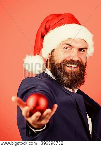 Radiate Christmas Generosity. Giving Is Better Than Receiving. Man With Beard Hold Red Balls Christm