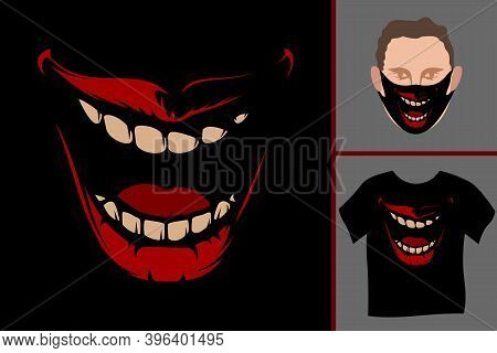Open Mouth With Teeth, Lips, Tongue. A Malicious Smile With A Wide Open Mouth With A Drooping Jaw. H