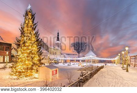 Landscape With Christmas Market And Decorations Tree In Little Town Rasnov, Brasov Landmark,transylv