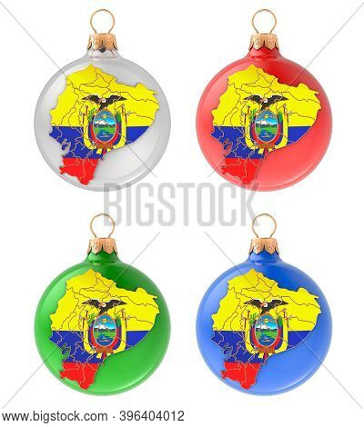 Christmas Balls With Ecuadorian Map, 3d Rendering Isolated On White Background
