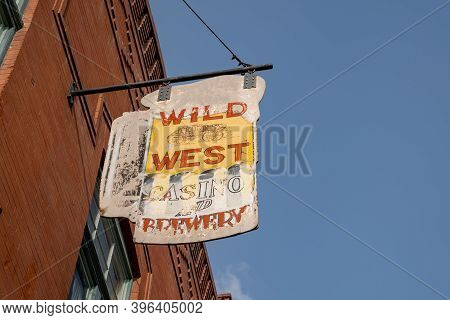 Cripple Creek, Colorado - September 16, 2020: Sign For Wild West Casino And Brewery, Vintage And Fad