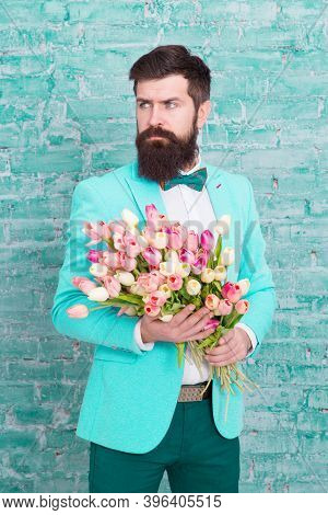 We Take Flowers Personally. Spring Gift. Bearded Man Hipster With Flowers. Love. International Holid