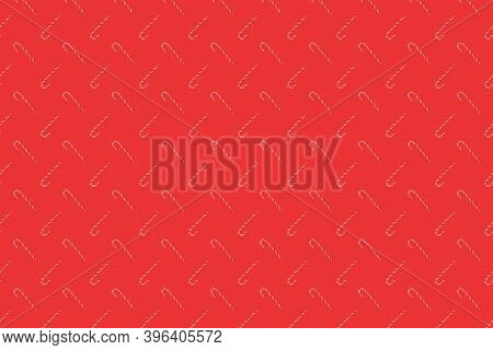 Traditional Christmas Candy Cane On Red Background