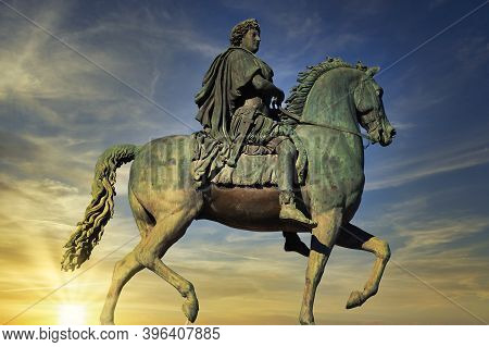 Equestrian Statue Of Louis Xiv On Place Bellecour In Lyon, France