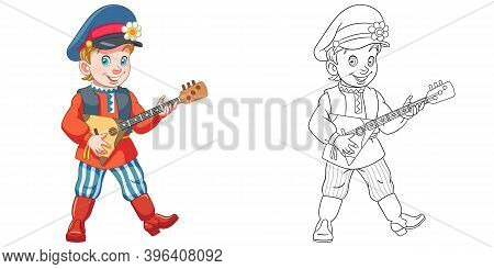 Coloring Page With Boy Playing Balalaika. Line Art Drawing For Kids Activity Coloring Book. Colorful