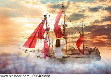 Dream World. Sailing Ship With Beautiful Girl On Board Floating Among Wonderful Fluffy Clouds