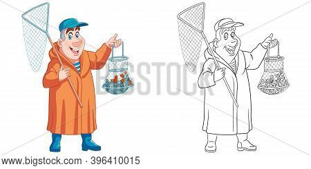 Coloring Page With Man Fishing. Line Art Drawing For Kids Activity Coloring Book. Colorful Clip Art.