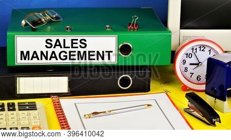 Sales Management. Text Label On The Folder Office Of The Registrar. Planning Strategy For Achieving