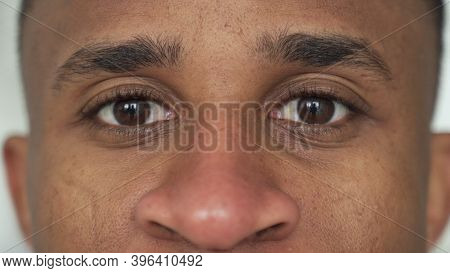 Close-up Of A Black Mans Eyes. Eyes Of A Thoughtful Man