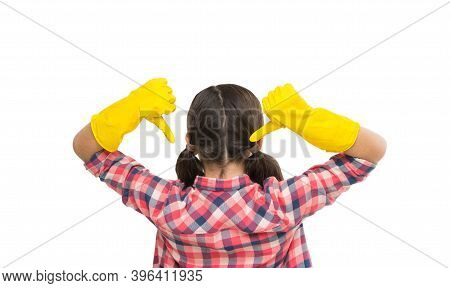 Make Your World Spotless. Housekeeping Duties. Cleaning Supplies. Girl Rubber Gloves For Cleaning Wh