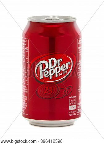 Bucharest, Romania - February 8, 2016. Can Of Dr Pepper Isolated On White. Dr Pepper Is A Carbonated