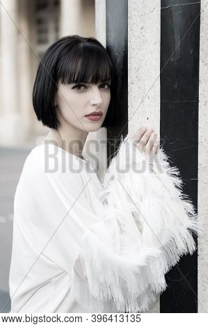Look, Visage, Make Up In Paris, France. Woman With Red Lips, Makeup Face. Girl With Brunette Hair Ha
