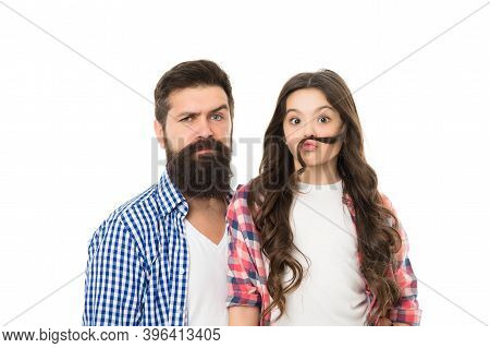 All You Need Is Mustache. Bearded Man With Beard And Natural Mustache While Little Girl Making Fake