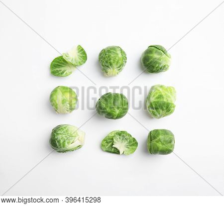 Fresh Brussels Sprouts On White Background, Top View