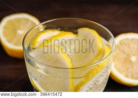 Fresh Soda Water With Lemon Slices, Closeup