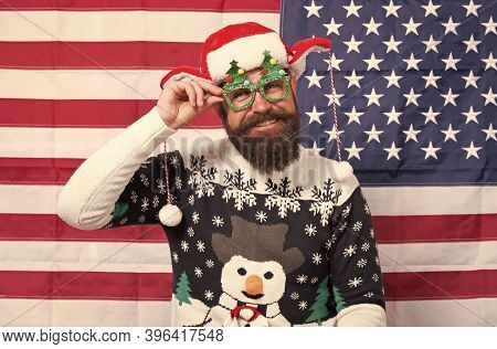 Liberty And Justice For All. American Tradition. Santa Claus On American Flag. Celebrate Xmas And Ne