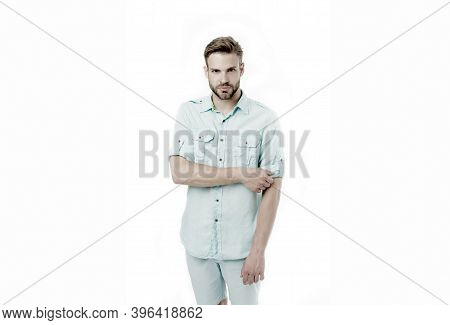 Bearded Man With Serious Look Isolated On White Background. Fashion Man In Casual Wear. Confident In