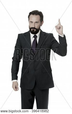 Pointing At Business Advertisement. Man Advisor Pointing Advertisement Isolated On White. Check Out