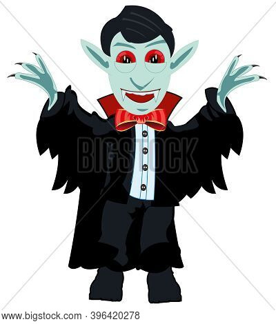 Vampire Dracula On White Background Is Insulated