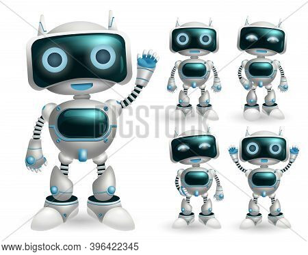 Robot Vector Character Set. Robotic Characters In Standing Pose And Gestures In Modern Design For To