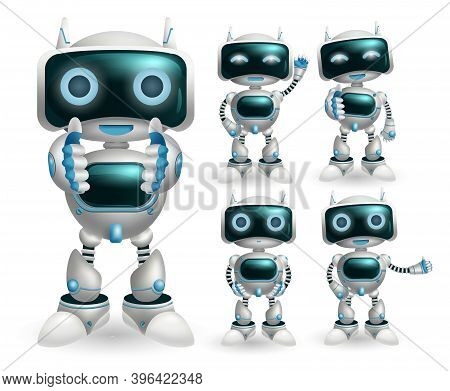 Robot Characters Vector Set. Robotic Character With Happy Modern Technology Post And Gestures For Ro