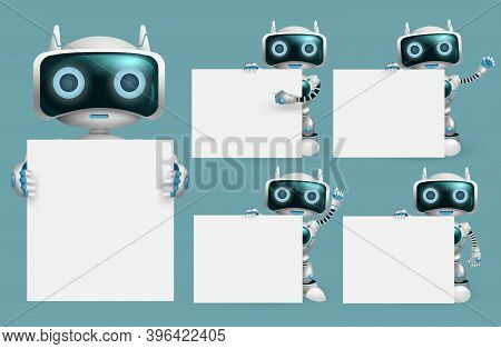 Robot Presentation Characters Vector Set. Robots Character Presenting And Holding White Board Elemen