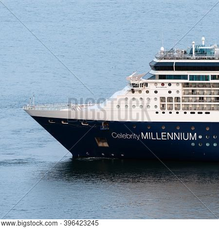 Cruise Liner Celebrity Millennium, View Of Ship Bow Of Unique And Contemporary Expedition Passenger