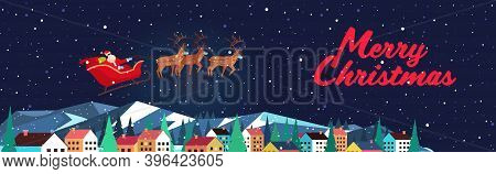 Santa Flying In Sledge With Reindeers In Night Sky Over Village Houses Happy New Year Merry Christma