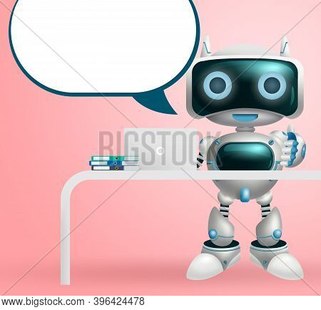 Robot Character Dialog Vector Background Design. Robotic 3d Character With Speech Bubble For Modern