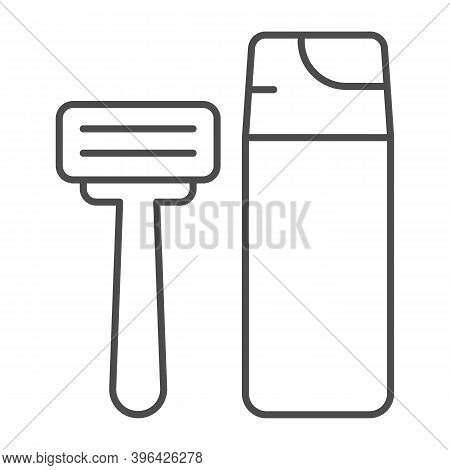 Shaving Foam And Razor Thin Line Icon, Hygiene Routine Concept, Men Skincare Products Sign On White