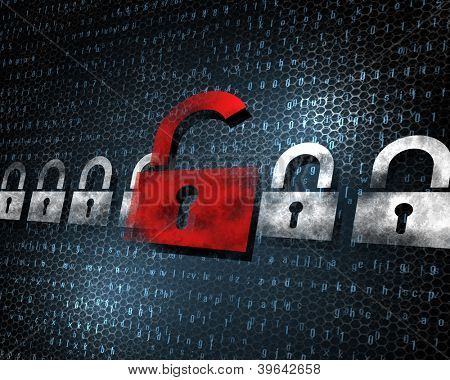 Security concept: Lock on digital screen, illustration